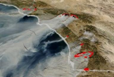 California Fires MODIS imagery and TOMS Aerosols from October 2003