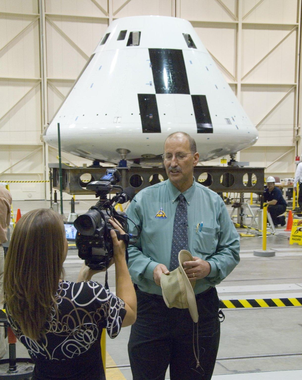 Orion AFT project manager Gary Martin is Interviewed in Front of the Crew Module.