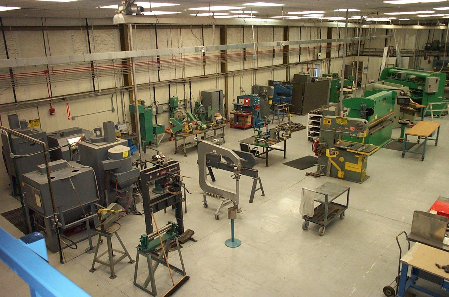 Additional overhead view of the Sheet Metal Shop.