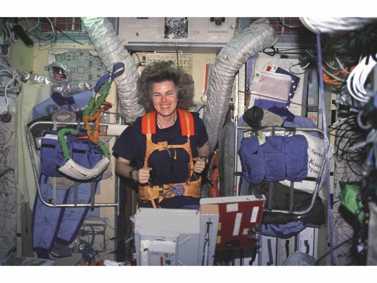 Shannon Lucid on Treadmill in Russian Mir Space Station
