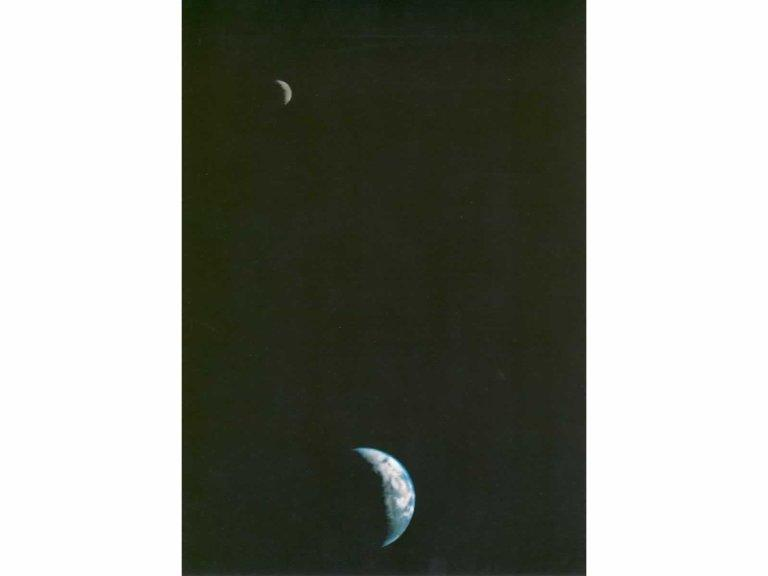 First Picture of the Earth and Moon in a Single Frame