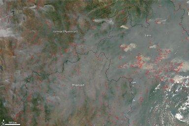 Fires in Burma, Thailand, Laos