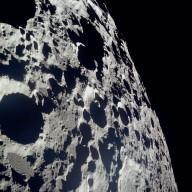 Apollo 11 Mission image - View of Moon, crater on horizon, Crater 308 and TO 15