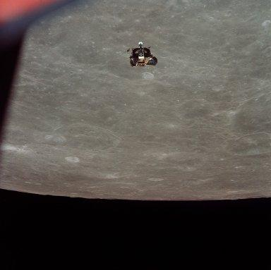 Apollo 11 Mission image - View of Moon limb and Lunar Module during ascent,Crater 199 and TO 55