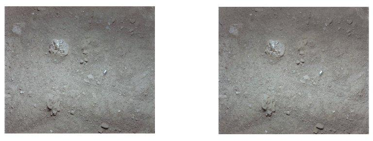 Apollo 11 stereo view showing lump of surface powder with glassy material