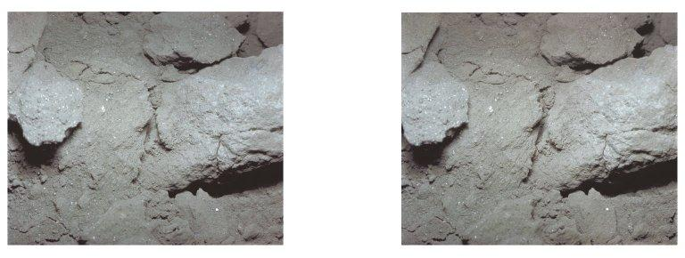 Apollo 11 stereo view showing lump of surface powder with colored material