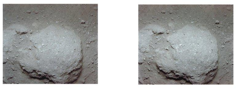 Apollo 11 stereo view showing stone embedded in powdery lunar surface