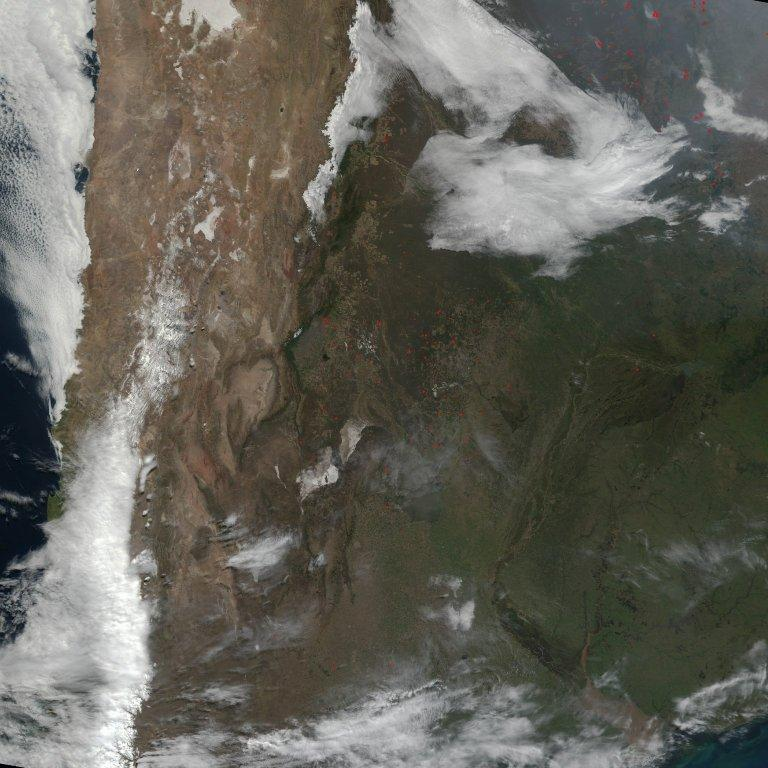 Widespread Fires in South America
