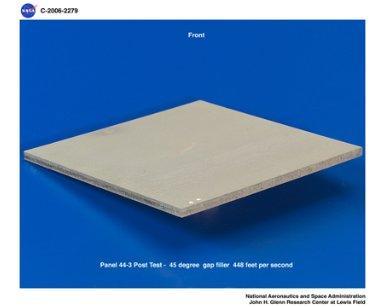 Reinforced Carbon/Carbon panels post test pictures. Ballistic impact testing using Gap Filler.