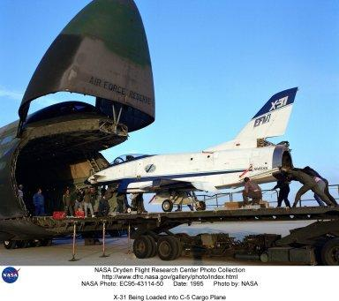 X-31 Being Loaded into C-5 Cargo Plane