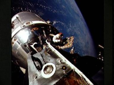 View of docked Apollo 9 Command/Service Module and Lunar Module