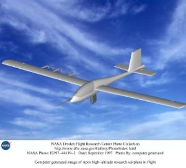 Computer generated image of Apex high-altitude research sailplane in flight