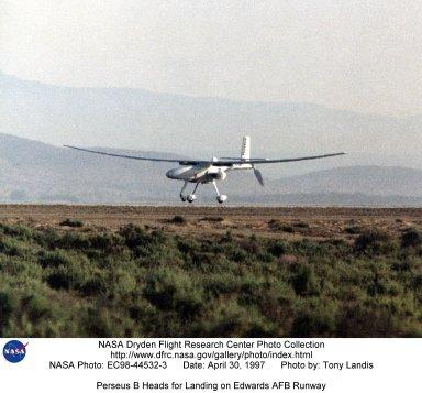 Perseus B Heads for Landing on Edwards AFB Runway