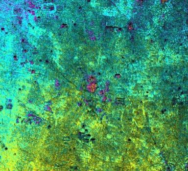 Radar Image with Color as Height, Ancharn Kuy, Cambodia
