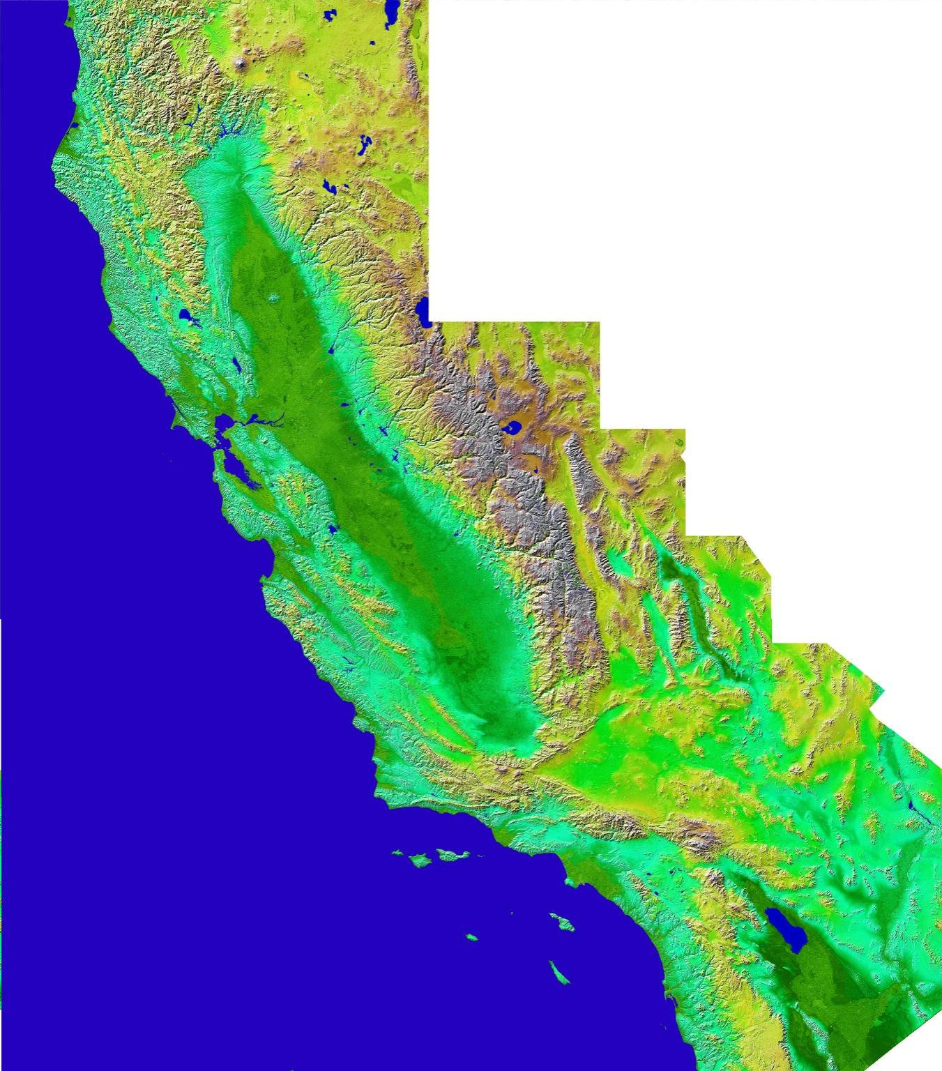 Shaded Relief with Color as Height, California Mosaic