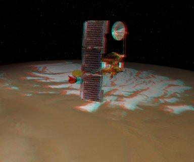 Odyssey over Mars' South Pole in 3-D