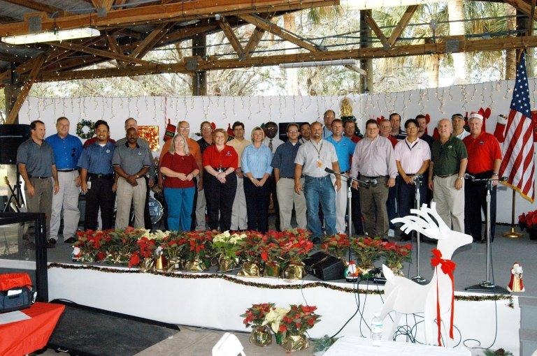 KENNEDY SPACE CENTER, FLA. - Employees who worked on the Kennedy Space Center Combined Federal Campaign are recognized during the Center?s Holiday Celebration. The 2004 campaign netted $389,000 to donate to the United Way of Brevard.