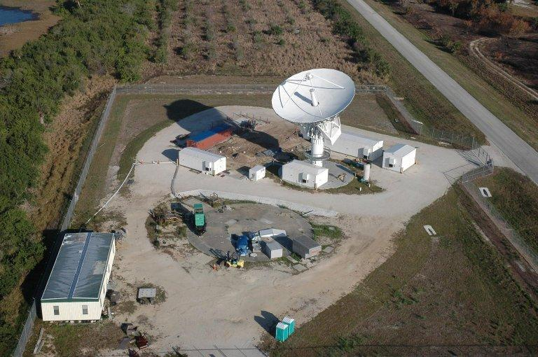 KENNEDY SPACE CENTER, FLA. - This view shows the new C-band, 3 megawatt radar with a 50-foot dish antenna recently installed on north Kennedy Space Center. It is one of the largest of its kind in the world, providing higher definition imagery than has ever been available before. Photo credit: Cory Huston