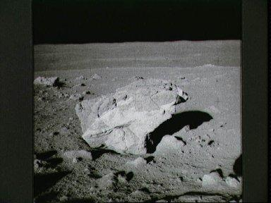 View of large boulder found by Apollo 14 crew