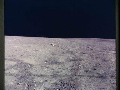 View of javelin and golf ball on lunar surface during Apollo 14 EVA