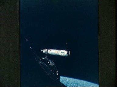 Agena Target Docking Vehicle photographed from Gemini 10 spacecraft