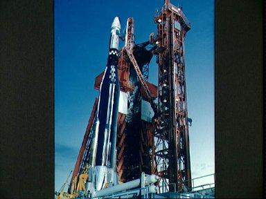 Agena Target Docking Vehicle atop Atlas launch vehicle at Launch complex 14