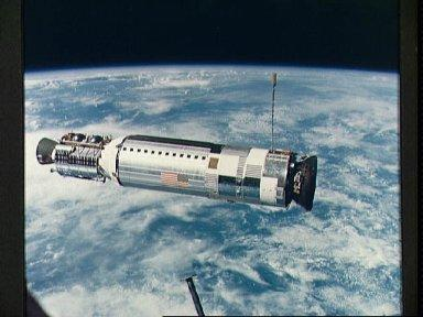 View of the Agena Target Docking Vehicle as seen from Gemini 12 spacecraft