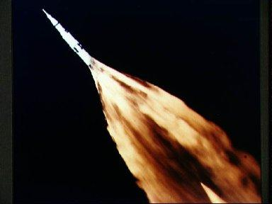 F-1 engines of Apollo/Saturn V first stage leave trail of flame after liftoff