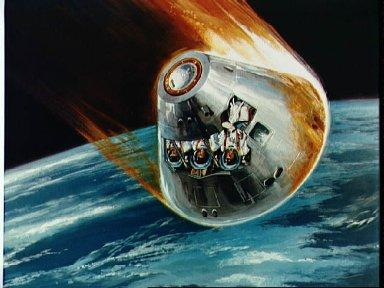 Artists drawing of Apollo 7 reentry phase with cutaway showing astronauts