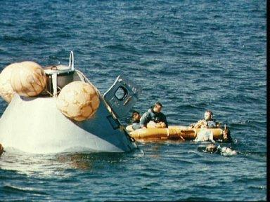 Apollo 8 prime crew seen during water egress training in Gulf of Mexico