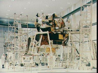 Interior view of Manned Spacecraft Operations Bldg with Lunar Module-3
