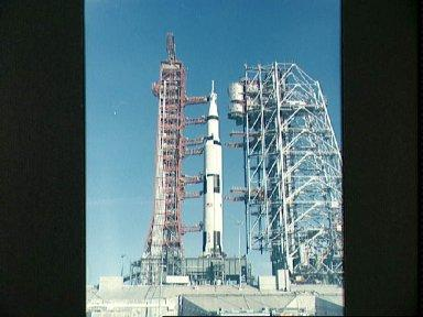 Ground level view of Apollo 8 space vehicle at Pad A, Launch Complex 38