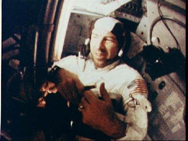 Apollo 8 crew shown during intravehicular activity during mission