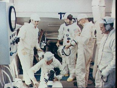 View of White Room atop Pad A during Apollo 9 Countdown Demonstration Test