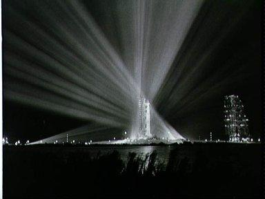 Nighttime view of Apollo 9 space vehicle at Pad A, Launch Complex 39