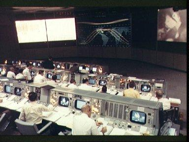 View of Mission Control during Apollo 9 earth orbital mission