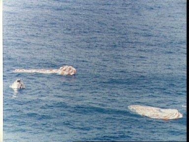 Apollo 9 spacecraft floats in Atlantic recovery area after splashdown