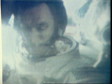 View of the Apollo 10 astronauts in capsule during mission
