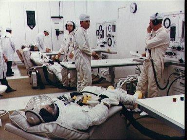 Apollo 10 astronauts during Countdown Demonstration Test at KSC