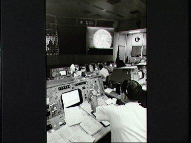 Partial view of activity in Mission Control Center during Apollo 10 mission