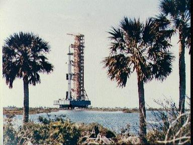 View of the Apollo 10 space vehicle at Pad B, ready for launch