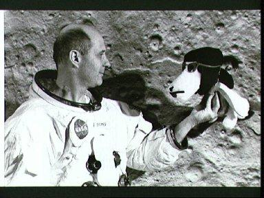 Astronaut Thomas Stafford and Snoopy
