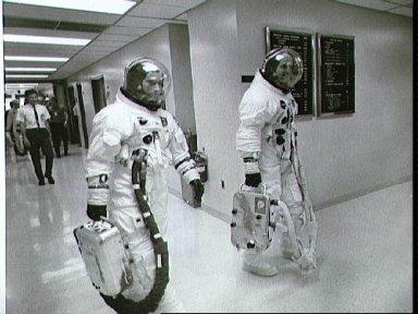 Apollo 10 astronauts leave Manned Spacecraft Operations Bldg for launch pad