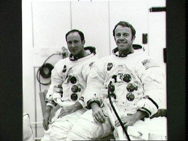 Astronauts Shepard and Mitchell suited up for altitude tests