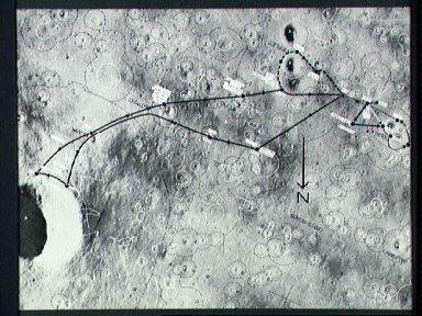 Lunar map showing traverse plans for Apollo 14 lunar landing mission
