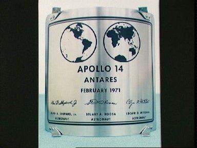 Plaque the Apollo 14 crew will leave on the Moon