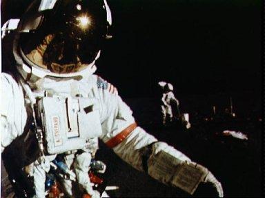 Astronaut Alan Shepard walks toward MET during first EVA
