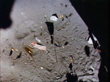 View of the U.S. flag near the Apollo 14 landing site during liftoff