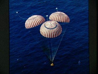 Apollo 16 spacecraft approaches touchdown in the central Pacific Ocean