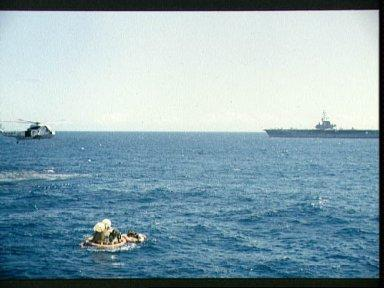 Apollo 16 Command Module during recovery operations after splashdown